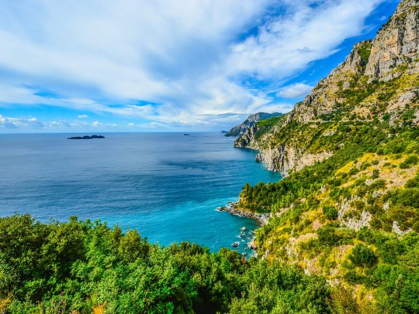 Italy Sky Mountains Coast Coastline Sea Blue