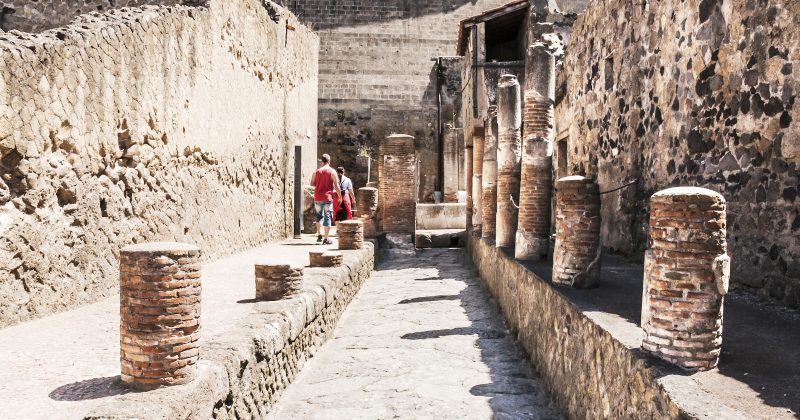 Herculaneum, Italy - July 2, 2014: view of the Herculaneum excavation destroyd by Vesuvius. Every year thousands of tourists visit this site